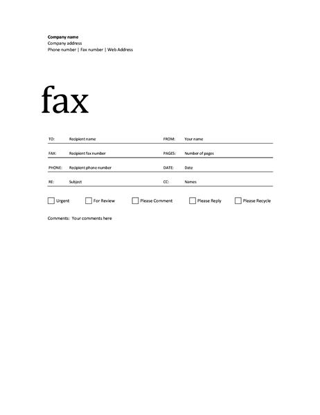 Printable Basic Fax Cover Sheet