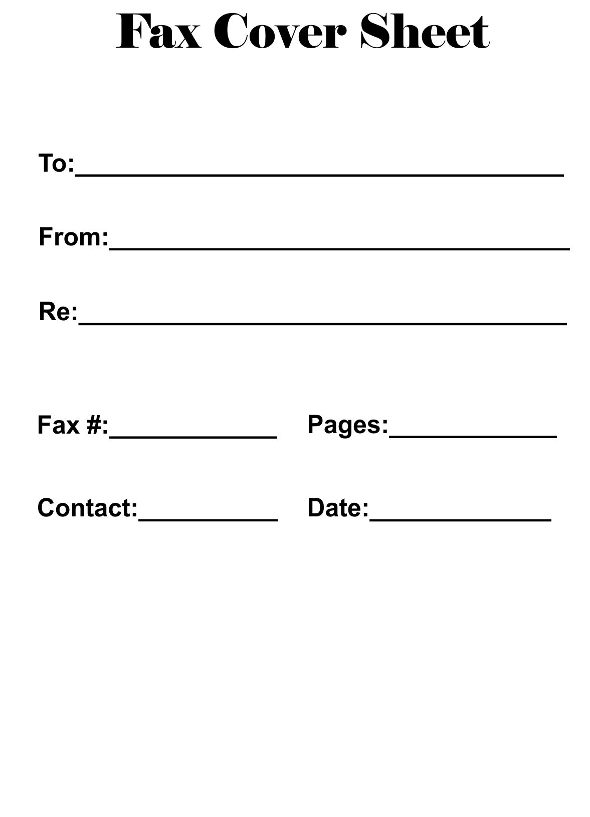 Blank Fax Cover Sheet PDF