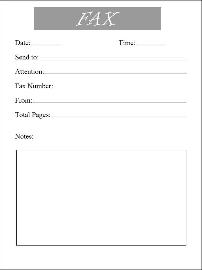 Resume Fax Cover Letter Printable